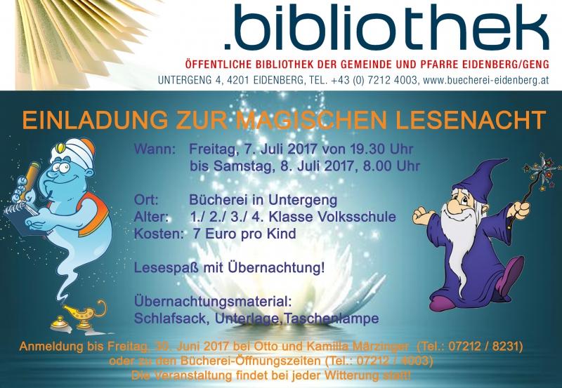 Einladung zur magischen Lesenacht | Öffentliche Bibliothek der ...